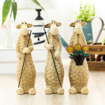 Ornaments home decorations living room bedroom garden gardening gardener take three sheep animal spade work crafts