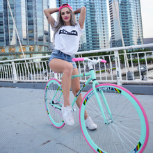 Dead flying bicycle solid tire live flying reverse brake light bike road race net red adult students male and female