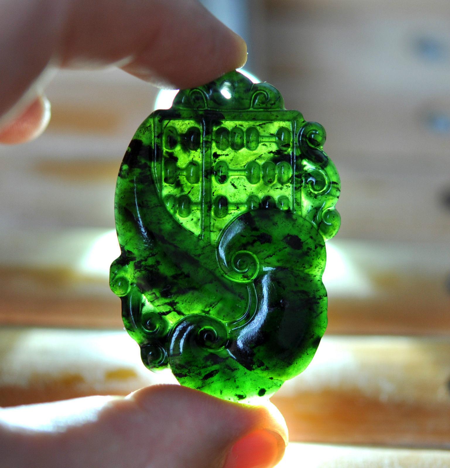 Первоклассный кулон из натурального нефрита, тонко подсчитанный счет, нефритовый кулон, темно-зеленый нефрит, ювелирные изделия из нефрита