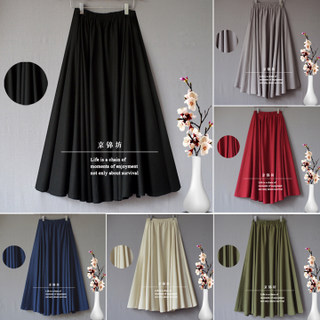 Women's cotton and linen skirts, summer mid-length, half-length skirts, spring and autumn linen skirts, loose high waist skirts, black