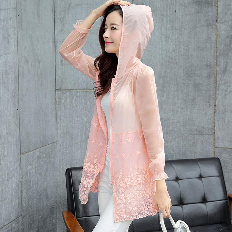 Sun bảo vệ quần áo nữ mùa hè mới 2018 Hàn Quốc phiên bản của tự trồng kích thước lớn dài tay trùm đầu organza khâu trong đoạn dài kem chống nắng quần áo