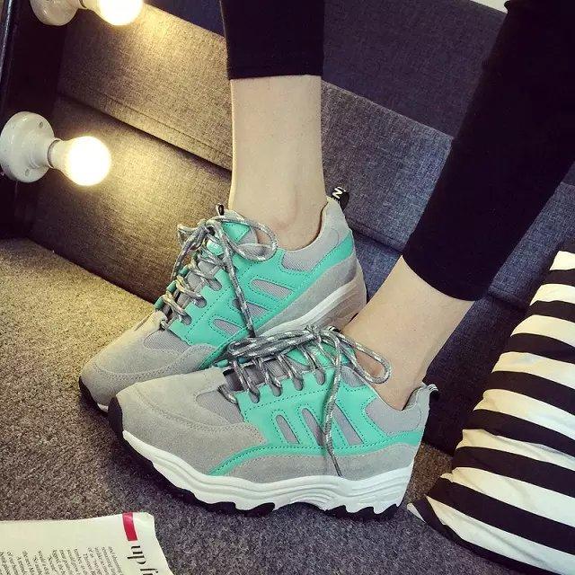 2015年秋冬季新款加绒学生休闲韩版女鞋系带拼色潮鞋平底运动鞋