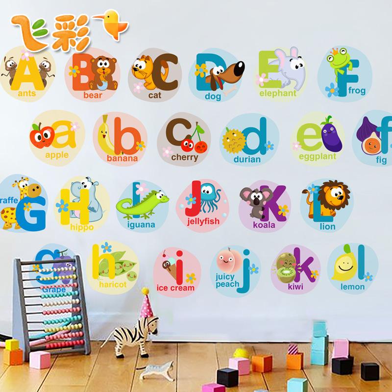 SGD12.18] Cartoon alphabet wall sticker childrens room decoration ...