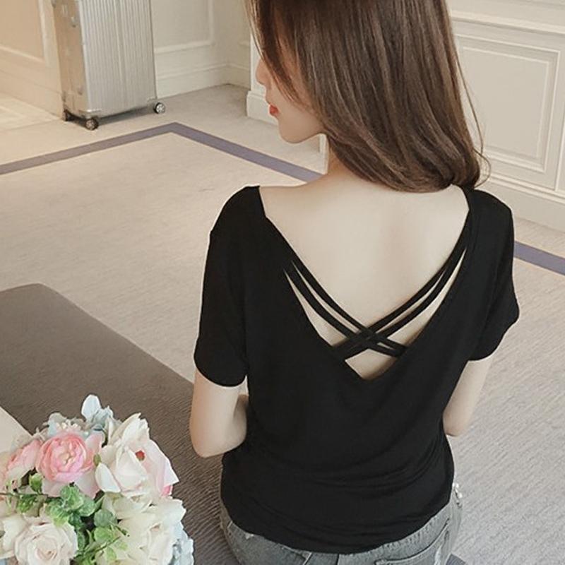 春夏季韩版性感V领交叉露背修身显瘦针织衫小衫短袖T恤上衣女潮