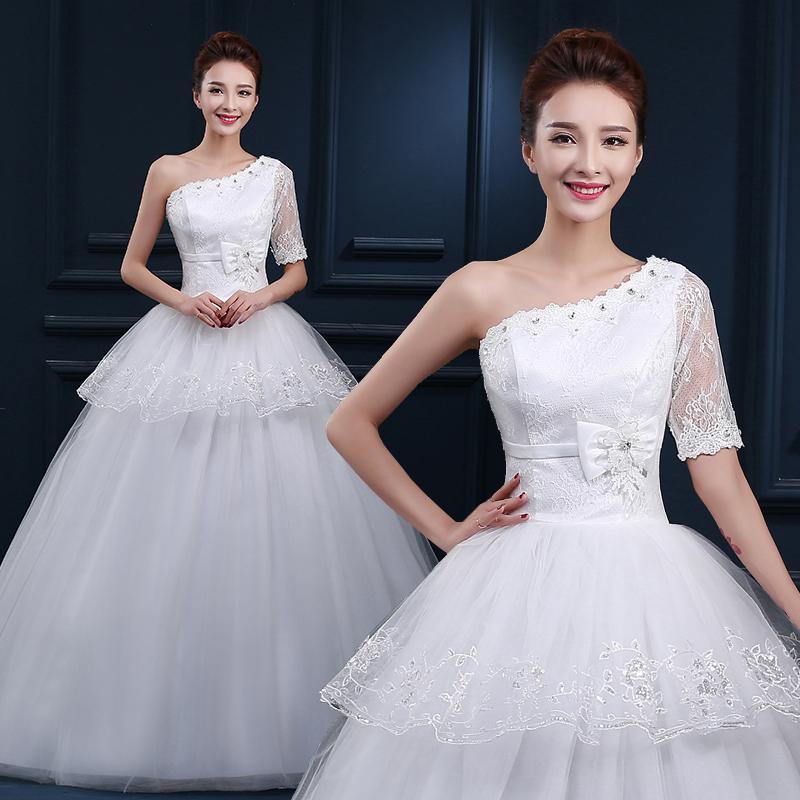 婚纱礼服新款2015冬季高腰长袖孕妇胖mm齐地加厚大码韩式显瘦冬款