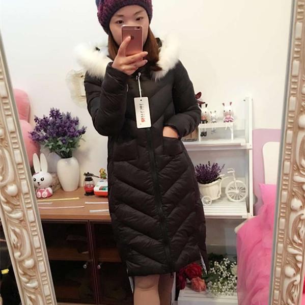 2015冬季新款女装韩版棉衣女中长款修身过膝时尚冬装连帽棉服外套