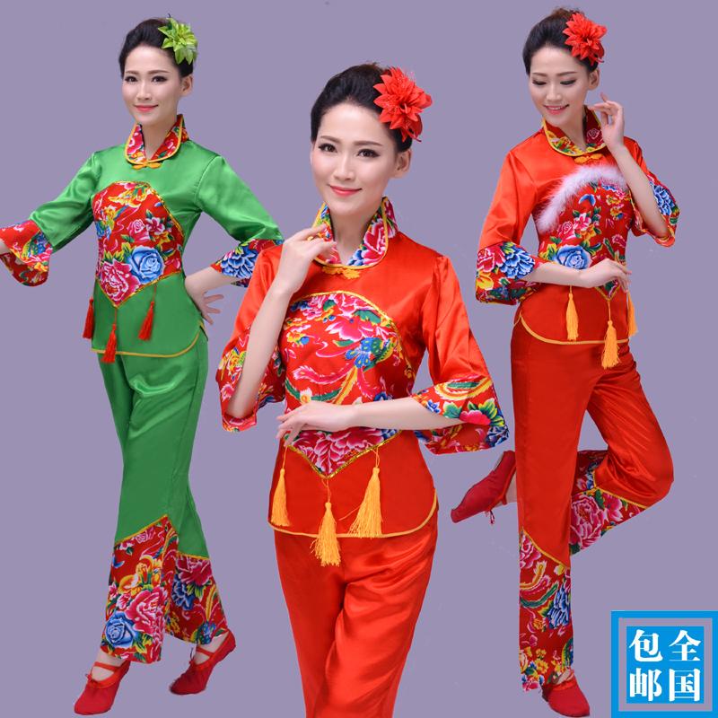 新款元旦儿童服中国结民族舞台秧歌服表演圣诞演出服装女童红绿色