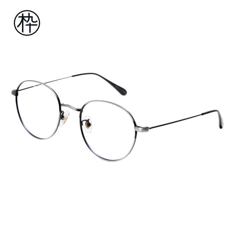bad73b79bb Metal fine frame glasses wooden ninety FM1000005 retro glasses classical wooden  ninety round frame glasses