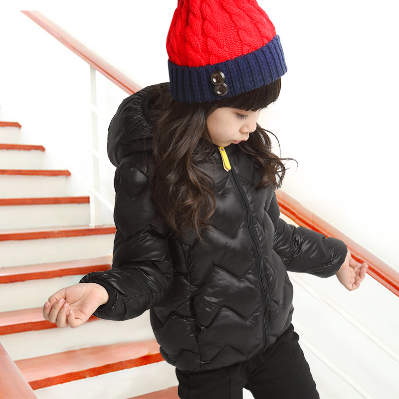 冬装女中大儿童加厚羽绒棉衣服中短款时尚潮高领保暖棉袄连帽外套