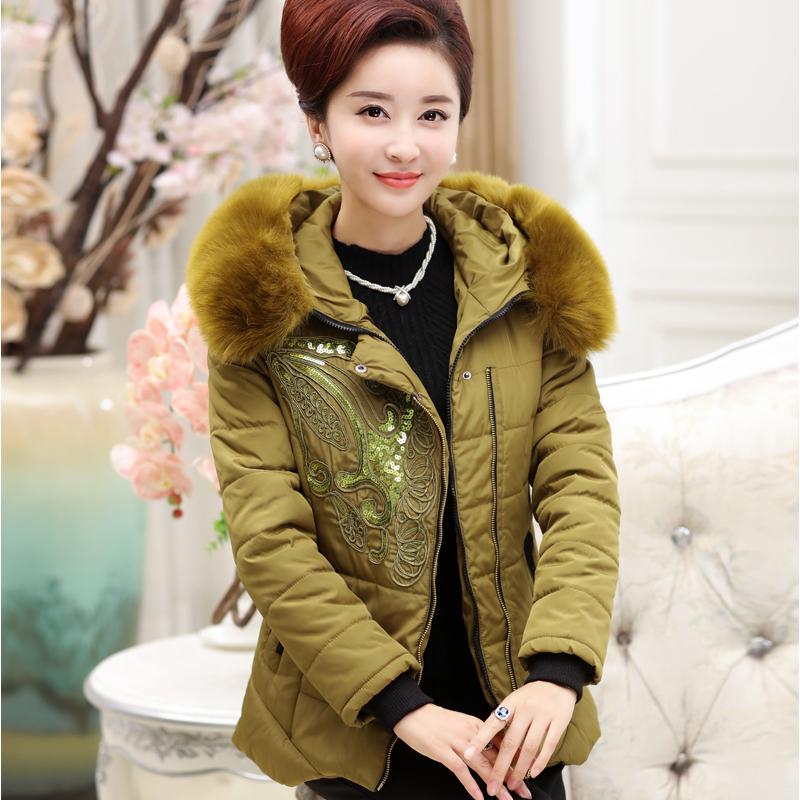 2015中老年女冬装棉服妈妈装保暖棉衣大码印花短款小棉袄50-60岁