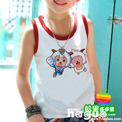 Sheep and Gray Wolf baby boys and girls children's vest cotton 90 summer dress class