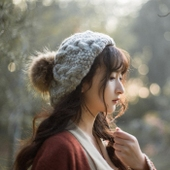 Knit Winter Cap With Removable Fur Ball