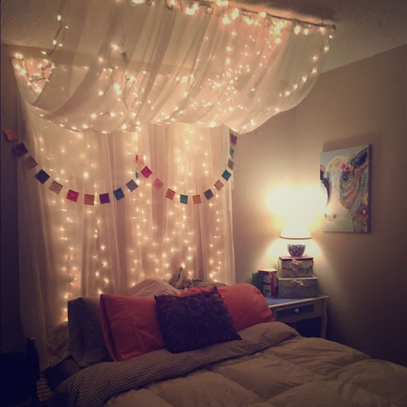 Curtain lights led bedroom waterfall decoration net Red Star ...