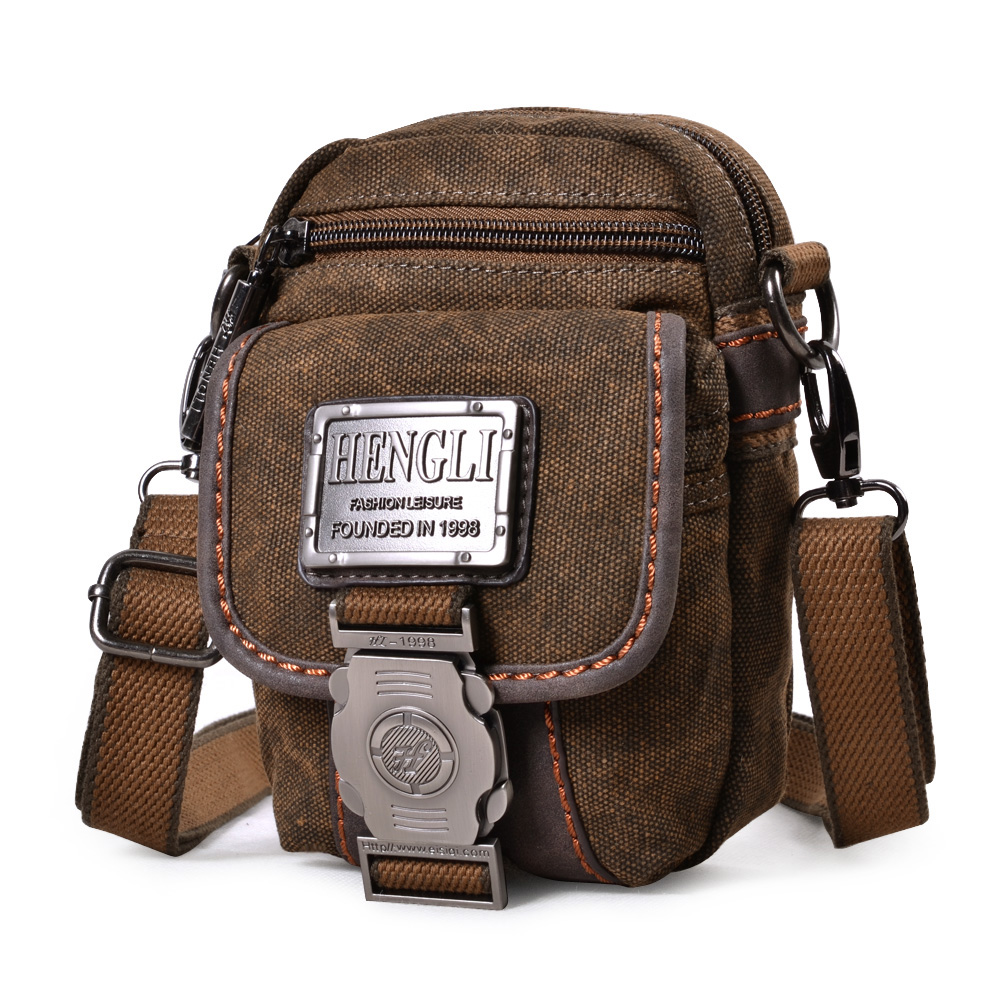 fd57c61c8a05 Small messenger bag multi-function canvas bag mobile phone bag wear belt  pockets bag mini casual men s shoulder bag