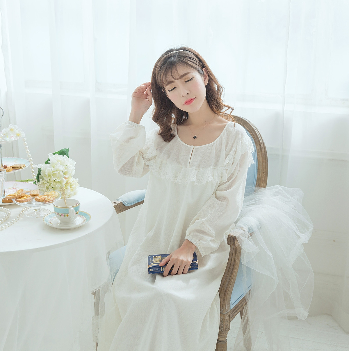 a516d1f612 HIGHNESS (snow Willow)cotton crepe retro long nightdress new home service  Palace wind pajamas