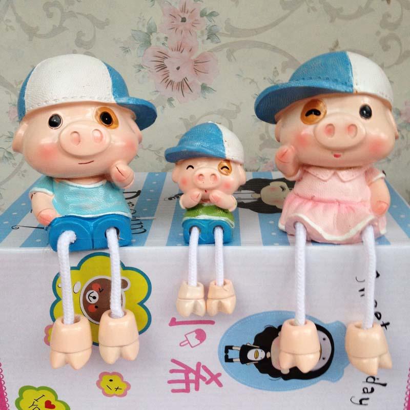 眼镜道具吊脚娃娃树脂摆件卡通创意大白一家三口装饰眼镜道具