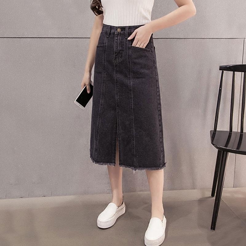 牛仔裙半身裙A字裙中长款高腰修身直筒百搭学生单排扣包臀裙中裙
