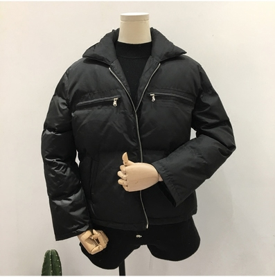 South Korea ulzzang2017 new women's thick winter zipper wild black short paragraph down cotton
