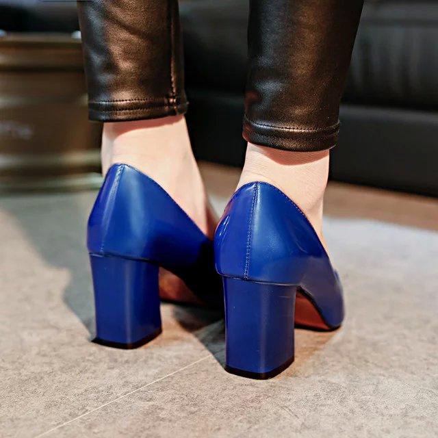 粗跟7CM无装饰OL尖头场工作鞋职业高跟鞋单鞋宝蓝色浅口鞋女漆皮