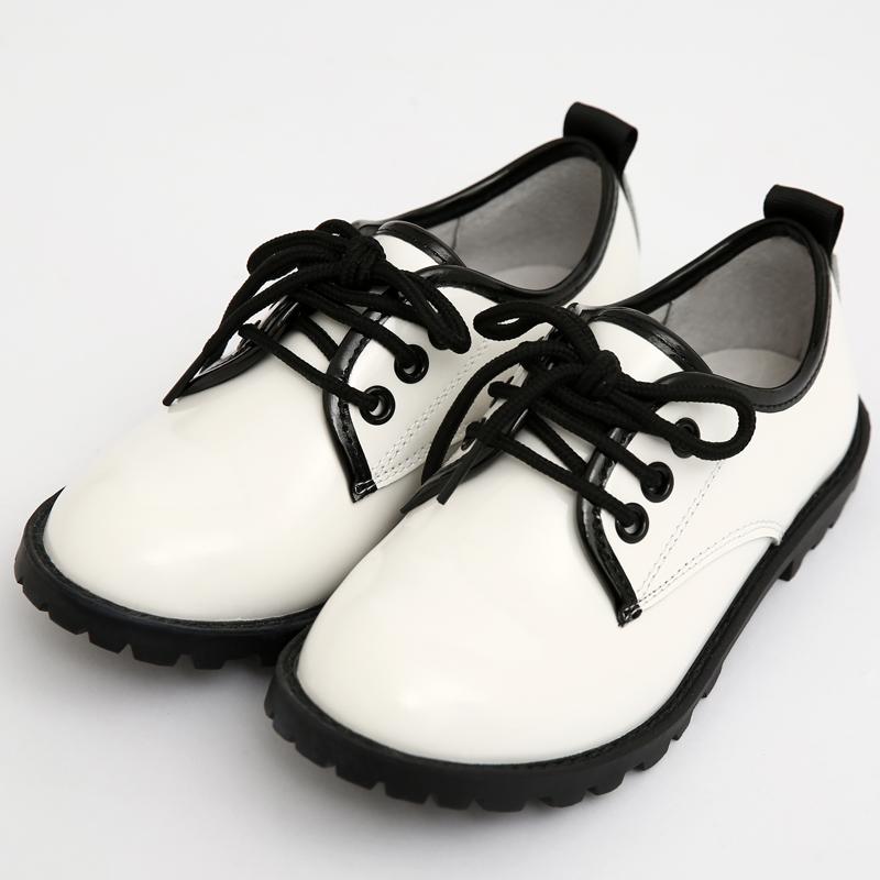 儿童皮鞋男童秋款细带单鞋白色表演鞋2018新款韩版童鞋小皮鞋