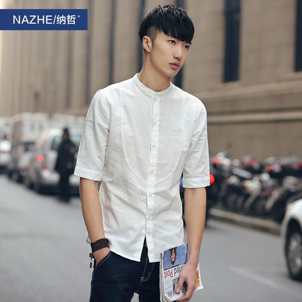 夏季潮流韩版男士修身七分袖衬衫 日系休闲磨毛格子7分中袖衬衣服
