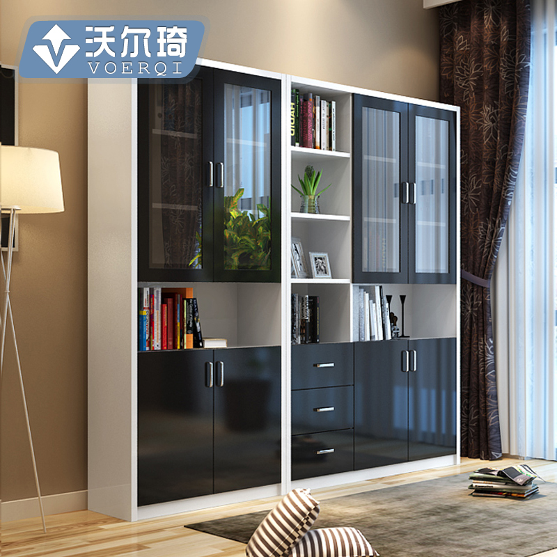 Walter Qi Creative Bookcases Free Combination Bookcase With Glass Doors  Bookcase Bookshelf Library Storage Cabinet