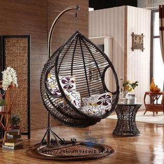 Rough rattan hanging basket rattan single double hanging chair outdoor swing rattan chair balcony cradle chair indoor garden leisure rocking chair