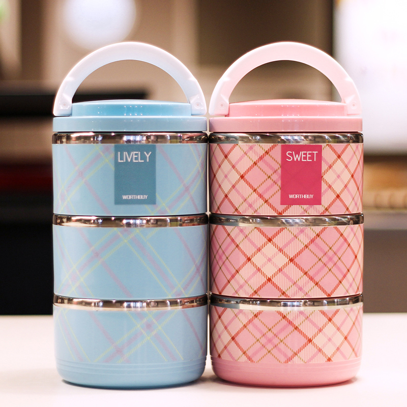 a36af128c82b Japanese-style stainless steel insulated lunch box 3-layer  three-Compartment Lunch Box student thermos barrel Japanese fruit box  detachable 2-layer