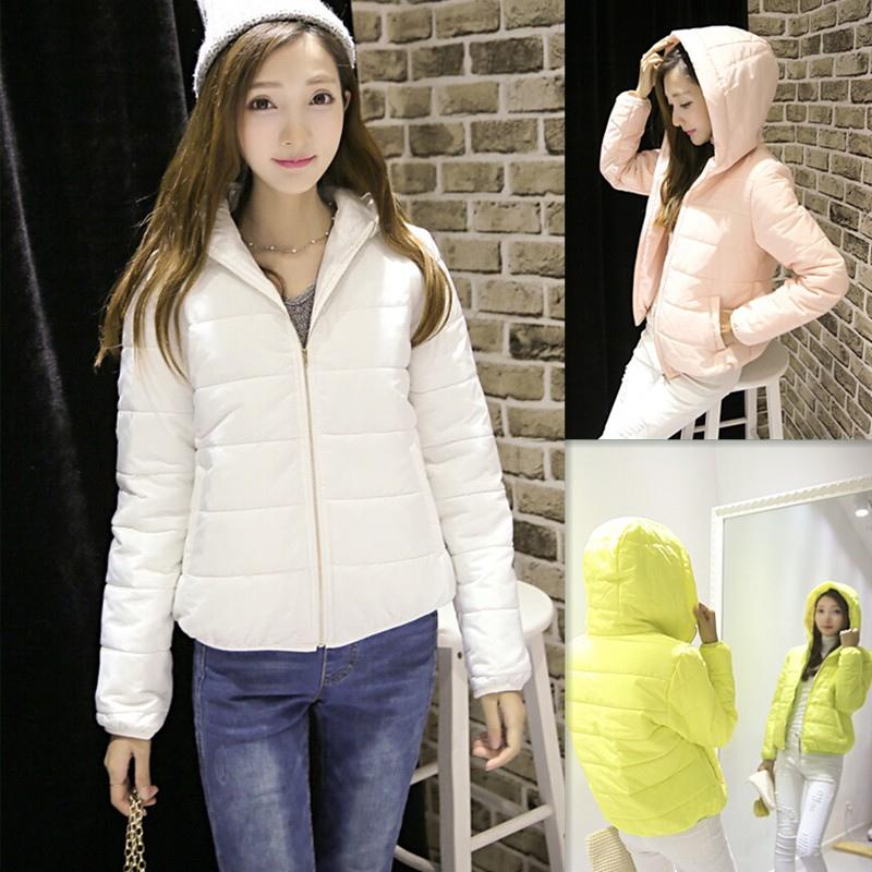 2015秋冬季韩版新款女式修身超轻薄羽绒服短款连帽大码女装外套潮