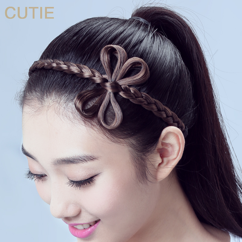 Hair Jewelry Fine Wholesale Female Korean Fashion Wig Hair Braided Rope Ring Simple Elastic Hairband Jewelry & Accessories
