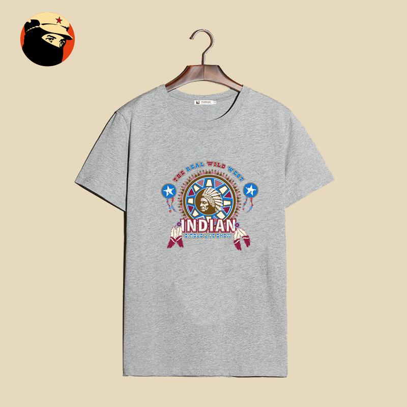 鬼面原创 印第安人民族风tee 日系原宿刺绣 夏天短袖t恤 潮牌男装