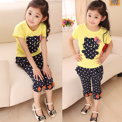 2017 new children's clothing summer models girls short-sleeved harem pants suit stretch polka-dot pants children suit