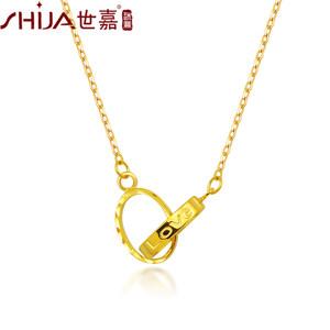 【新品】世嘉珠宝 AU750彩金项链 18K黄彩金套链锁骨链简约锁爱