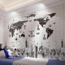 Wall stickers, stickers, bedrooms, dormitories, college students, posters, wall paper decorations, self-adhesive world map