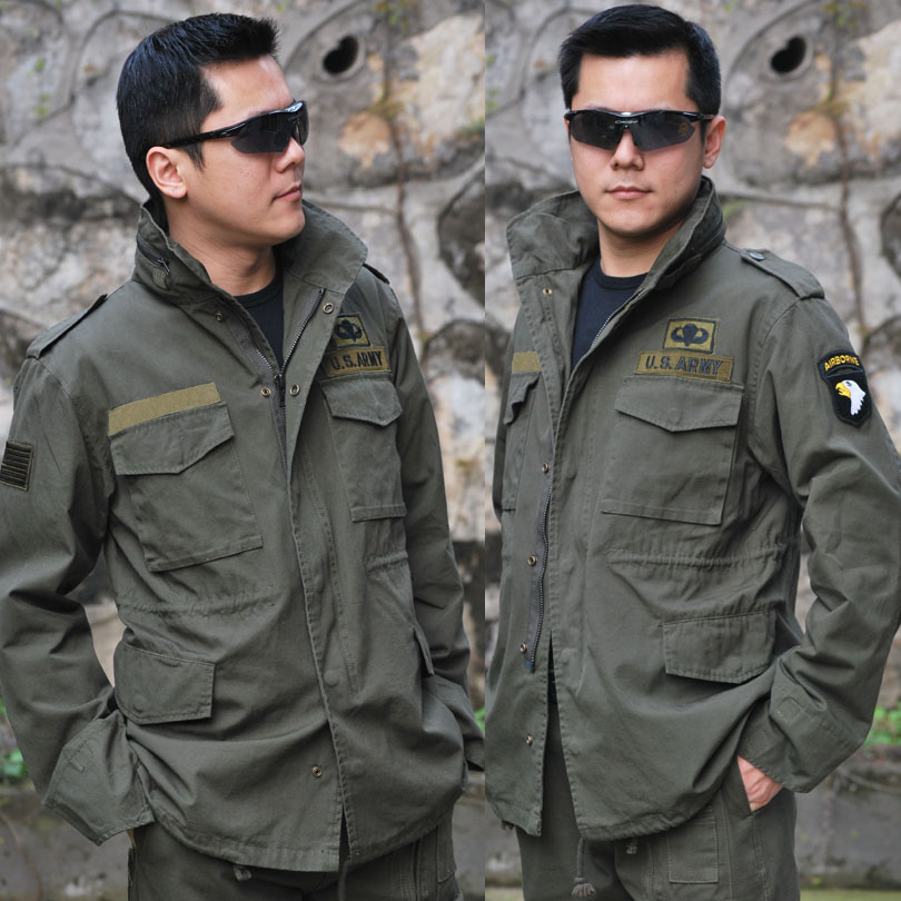 f592ace1276 2018 outdoor leisure camping Army fan men s 101 Airborne Division M65  windbreaker military version double jacket Jacket