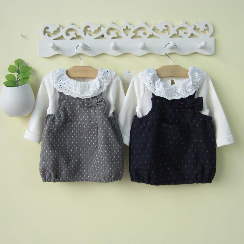 婴幼儿1-2-3岁女童装秋装4岁女宝宝背带裙套装毛呢两件套装公主服