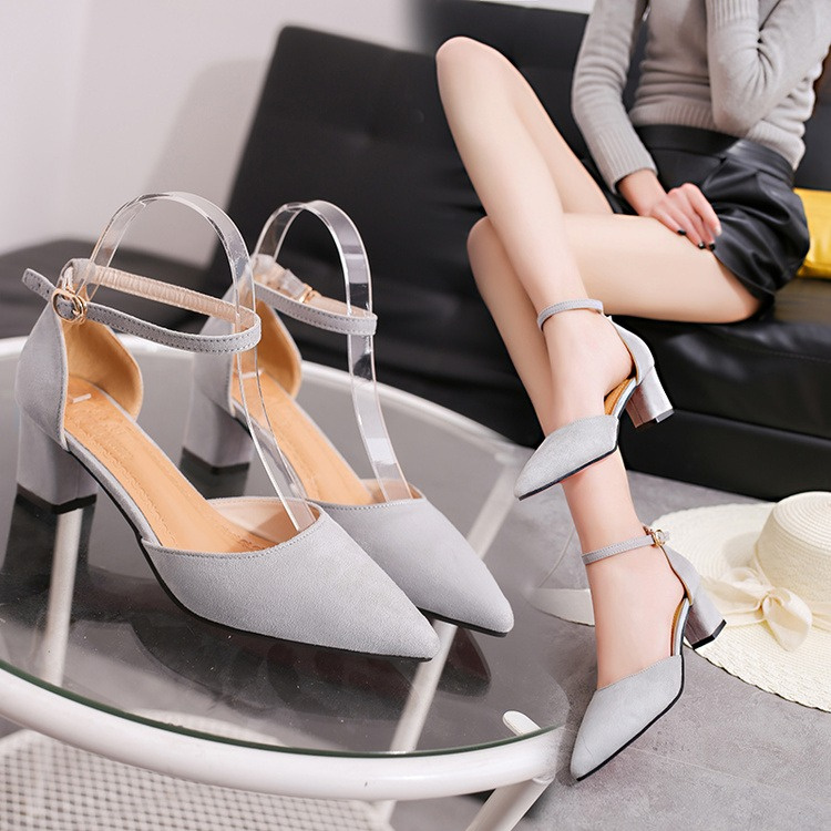 935b71ea3 2019 new word buckle 5cm high heels thick with pointed Korean suede shallow  mouth Baotou sandals female spring with