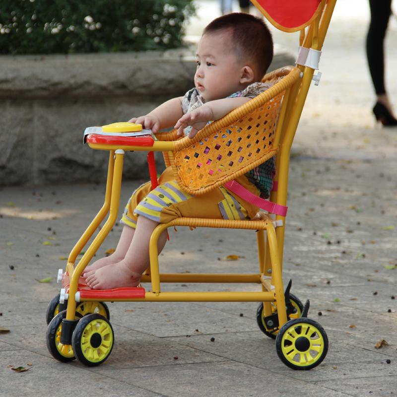 外婆桥仿藤推车 四轮轻便仿藤车 仿竹藤儿童车婴儿藤编推车