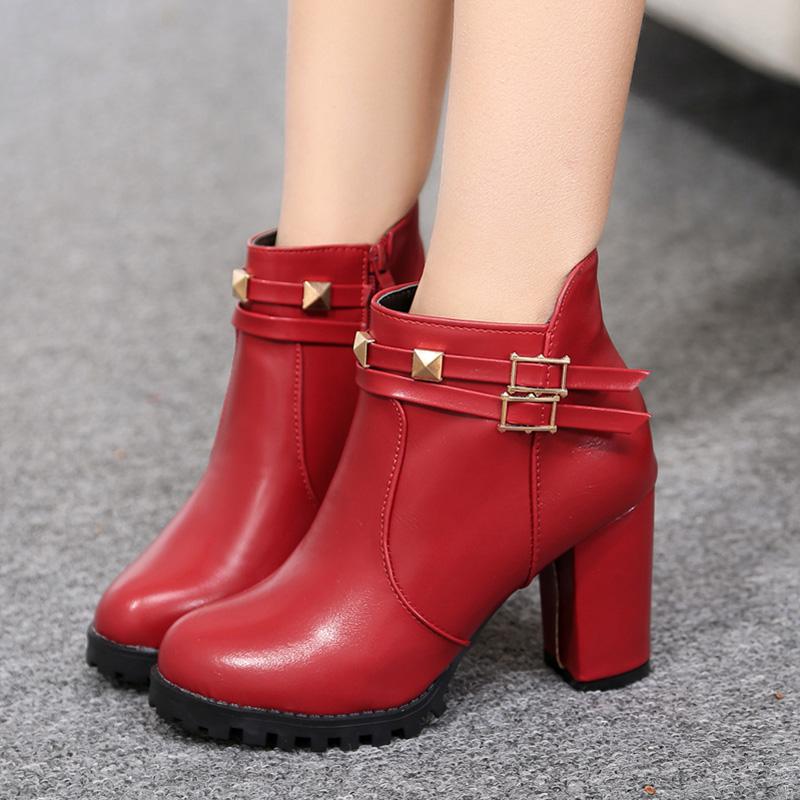 2015新款冬季欧美尖头细跟短靴高跟女靴磨砂加绒裸靴女鞋及踝靴潮