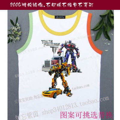 Transformers for men and women 14 Optimus Prime Bumblebee Boys summer new children's shirt bottoming shirt vest t-shirt
