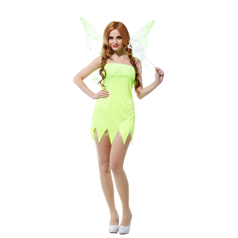 Amazing Halloween Costume Adult Sexy Female Party Sexy Costumes Green Fairy Wizard Green  Fairy Dress