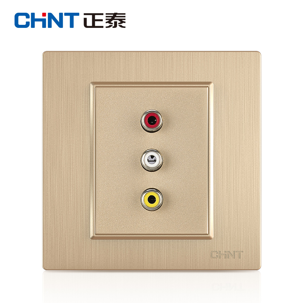 Cheng Tai switch socket panel 7L champagne salad wire audio video switch socket (3RCA) 86 type socket