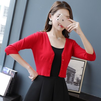 2020 Spring and Autumn Solid Middle Sleeve Sleeve Signs Women's Cardigan Ultra-short Highlights