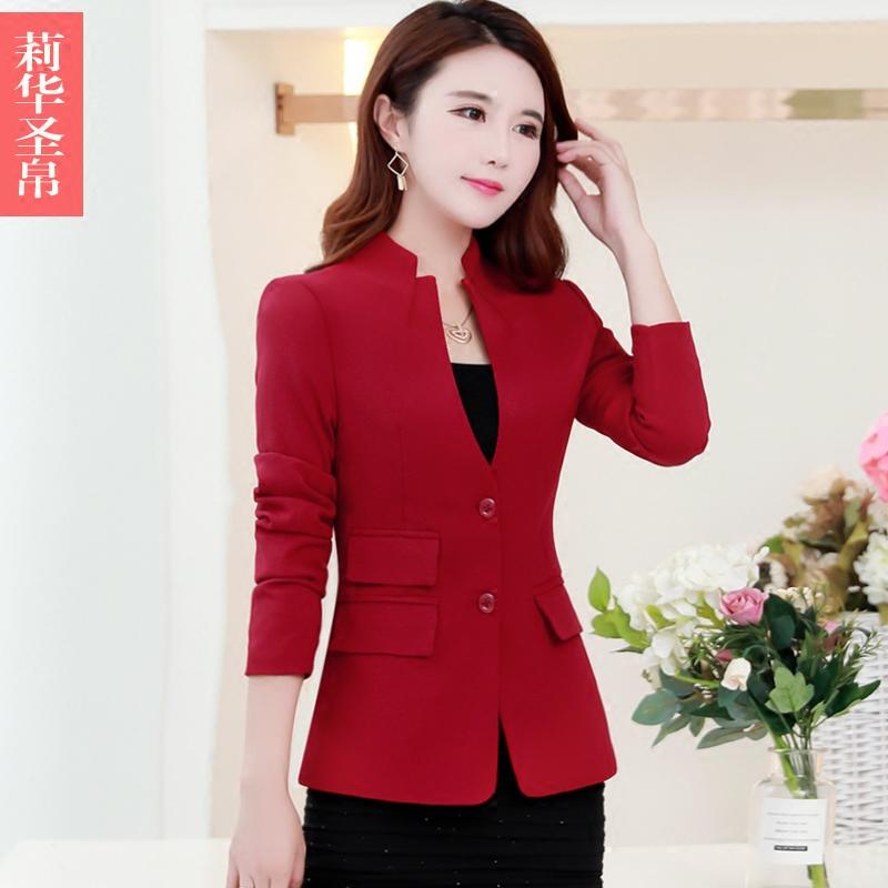 2018 mới mùa thu của phụ nữ áo khoác giản dị nhỏ phù hợp với Hàn Quốc phiên bản của tự trồng phụ nữ phù hợp với đoạn ngắn cổ áo dài tay của phụ nữ áo sơ mi Business Suit