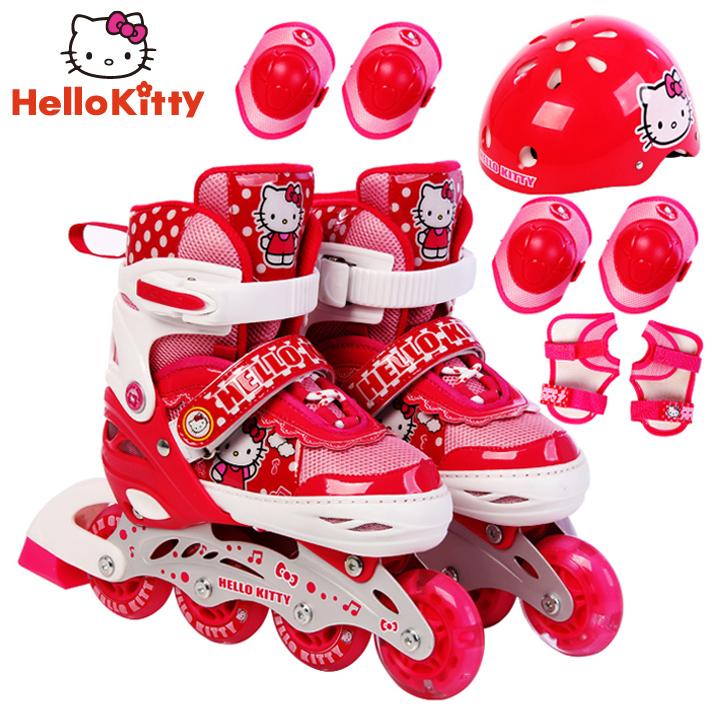 迪士尼儿童溜冰鞋全套装滑轮鞋可调直排轮男女闪光旱冰鞋凯蒂猫
