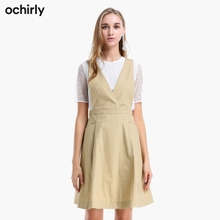 Ochirly Ou Shili 2019 autumn V-neck solid color two piece back belt dress female 1gy2081320
