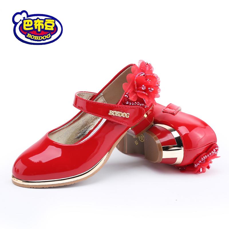 儿童时尚公主皮鞋小学生中大童魔术贴演出春秋季女童表演鞋子粗跟