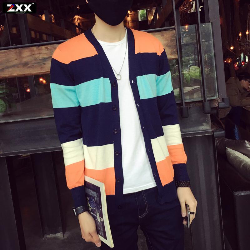 男士外套春季2016新款v领韩版修身线衣青年针织衫开衫薄款毛衣潮