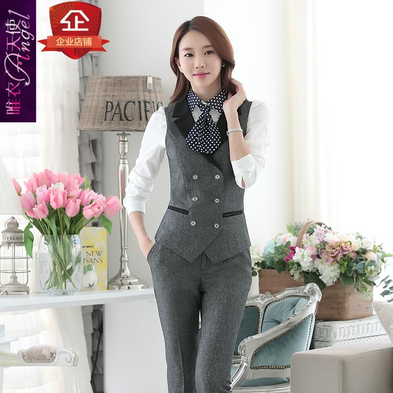 时尚韩版职业装女装西装裤装工作服套装秋冬OL西服长袖两件套正装