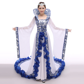 Blue and white porcelain imperial concubine ancient Chinese costume dance fairy tailed Costume